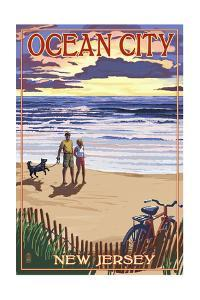 Ocean City, New Jersey - Beach and Sunset by Lantern Press