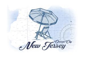 Ocean City, New Jersey - Beach Chair and Umbrella - Blue - Coastal Icon by Lantern Press
