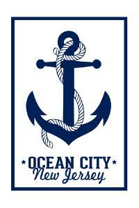 Ocean City, New Jersey - Blue and White Anchor by Lantern Press