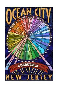 Ocean City, New Jersey - Boardwalk Ferris Wheel by Lantern Press