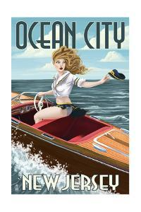 Ocean City, New Jersey - Boating Pinup Girl by Lantern Press