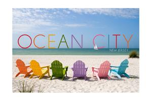 Ocean City, New Jersey - Colorful Beach Chairs by Lantern Press