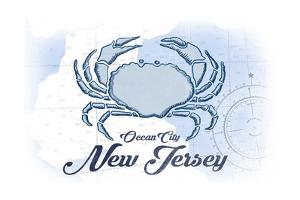 Ocean City, New Jersey - Crab - Blue - Coastal Icon by Lantern Press