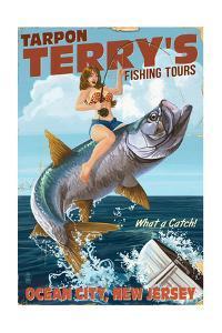 Ocean City, New Jersey - Deep Sea Fishing Pinup Girl by Lantern Press