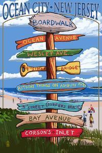 Ocean City, New Jersey - Destination Signpost by Lantern Press