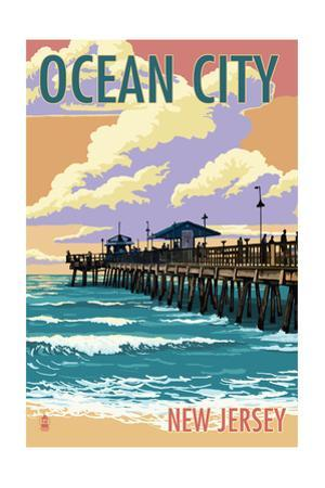 Ocean City, New Jersey - Fishing Pier by Lantern Press