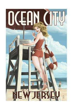 Ocean City, New Jersey - Lifeguard Pinup Girl by Lantern Press