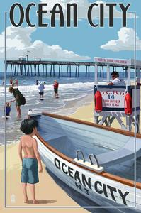 Ocean City, New Jersey - Lifeguard Stand by Lantern Press