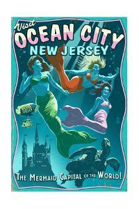 Ocean City, New Jersey - Mermaids Vintage Sign by Lantern Press