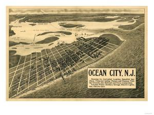 Ocean City, New Jersey - Panoramic Map by Lantern Press