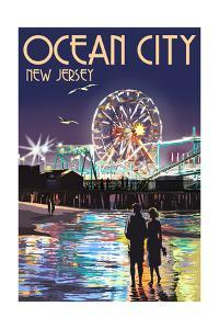 Ocean City, New Jersey - Pier and Rides at Night by Lantern Press