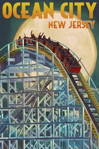 Ocean City, New Jersey - Roller Coaster and Moon by Lantern Press
