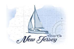 Ocean City, New Jersey - Sailboat - Blue - Coastal Icon by Lantern Press