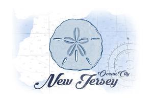 Ocean City, New Jersey - Sand Dollar - Blue - Coastal Icon by Lantern Press