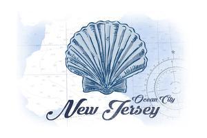 Ocean City, New Jersey - Scallop Shell - Blue - Coastal Icon by Lantern Press