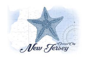 Ocean City, New Jersey - Starfish - Blue - Coastal Icon by Lantern Press