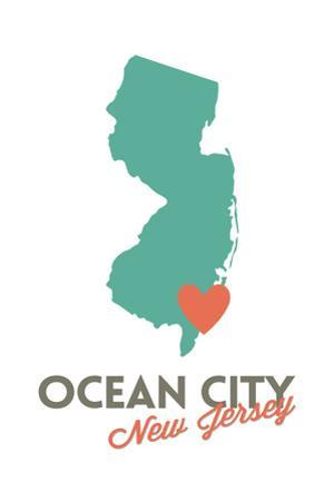 Ocean City, New Jersey - State Outline and Heart by Lantern Press