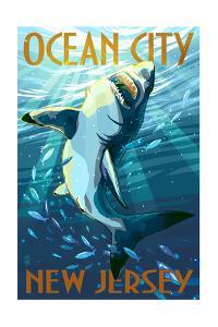 Ocean City, New Jersey - Stylized Shark by Lantern Press