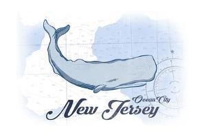 Ocean City, New Jersey - Whale - Blue - Coastal Icon by Lantern Press