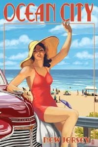 Ocean City, New Jersey - Woman Waving by Lantern Press