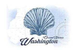 Ocean Shores, Washington - Scallop Shell - Blue - Coastal Icon by Lantern Press