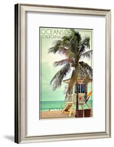 Oceanside, California - Lifeguard Shack and Palm by Lantern Press