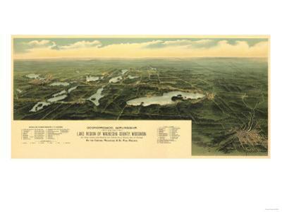 Oconomowoc Waukesha, Wisconsin - Panoramic Map by Lantern Press