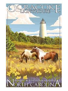 Ocracoke Lighthouse - Outer Banks, North Carolina by Lantern Press