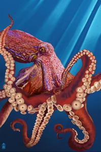 Octopus - Red by Lantern Press