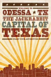 Odessa, Texas - Skyline and Sunburst Screenprint Style by Lantern Press