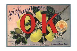 OK Brand - Azusa, California - Citrus Crate Label by Lantern Press