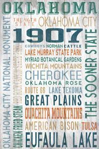 Oklahoma - Barnwood Typography by Lantern Press