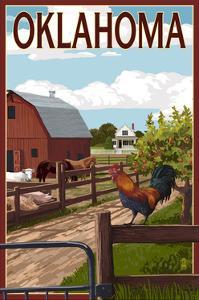 Oklahoma - Barnyard Scene by Lantern Press