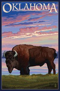Oklahoma - Buffalo and Sunset by Lantern Press