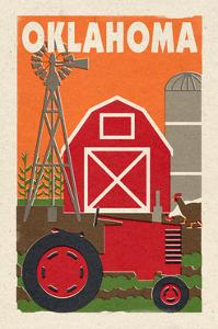 Oklahoma - Country - Woodblock by Lantern Press