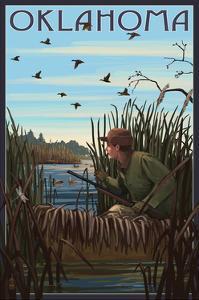 Oklahoma - Hunter and Lake by Lantern Press