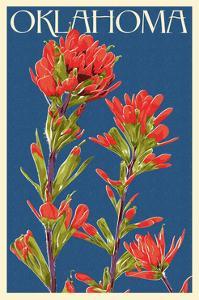 Oklahoma - Indian Paintbrush - Letterpress by Lantern Press