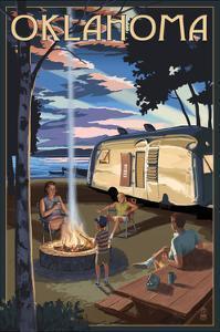 Oklahoma - Retro Camper and Lake by Lantern Press
