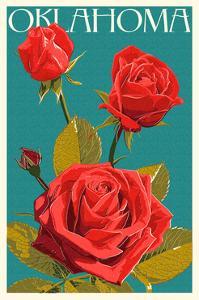 Oklahoma - Rose - Letterpress by Lantern Press