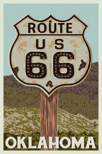 Oklahoma - Route 66 - Letterpress by Lantern Press