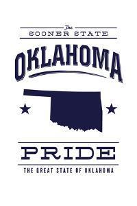 Oklahoma State Pride - Blue on White by Lantern Press