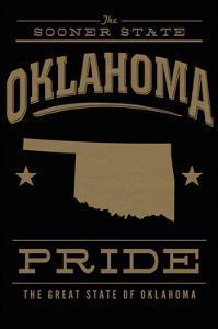 Oklahoma State Pride - Gold on Black by Lantern Press