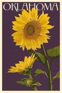Oklahoma - Sunflowers - Letterpress by Lantern Press
