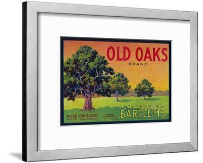 Old Oaks Pear Crate Label - Bryte, CA