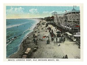 Old Orchard Beach, Maine - West View of Beach by Lantern Press