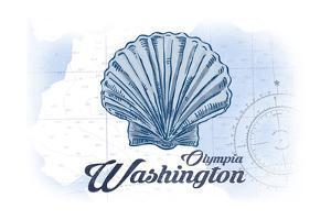 Olympia, Washington - Scallop Shell - Blue - Coastal Icon by Lantern Press