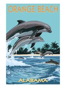 Orange Beach, Alabama - Dolphins Jumping by Lantern Press