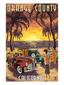Orange County, California - Woodies and Sunset by Lantern Press