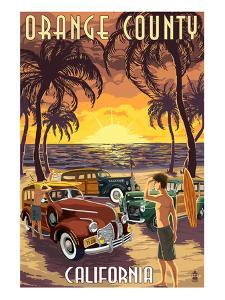 Orange County, California - Woodies and Sunset by Lantern Press