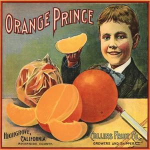 Orange Prince Brand - Highgrove, California - Citrus Crate Label by Lantern Press